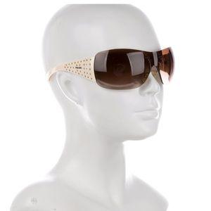 Men's/Unisex PRADA Shield Sunglasses gold accents